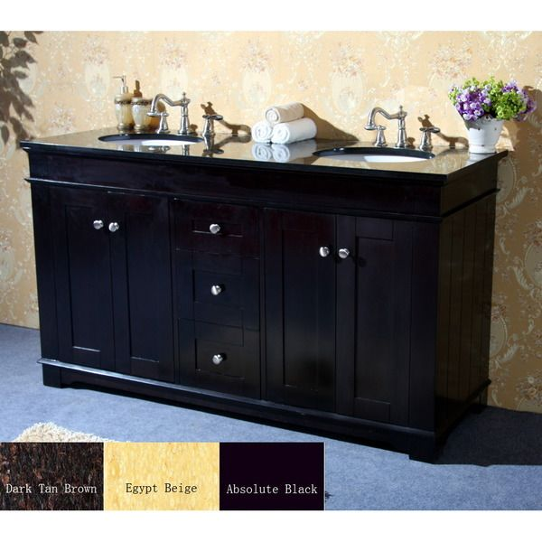Natural Granite Top 60 Inch Double Sink Bathroom Vanity In Espresso Finish By Legion Furniture