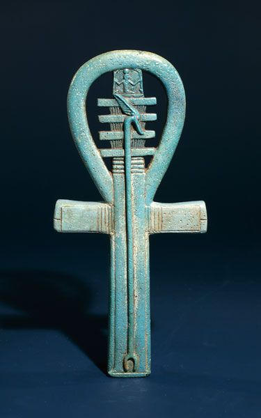 Ancient Egyptian faience amulet combining an ankh, djed and was sceptre. (British Museum)