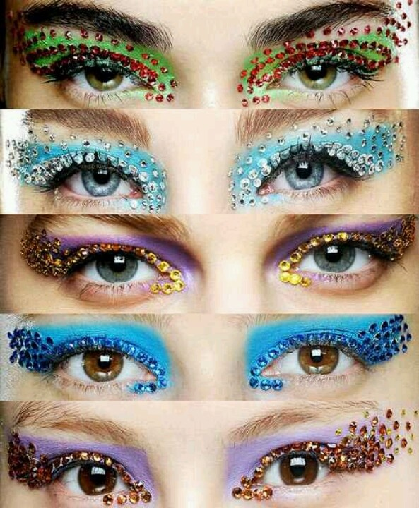 Showgirl eyes with a matching Rhinestone Dress!