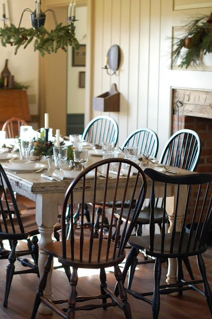 Love the walls and Windsor chairs