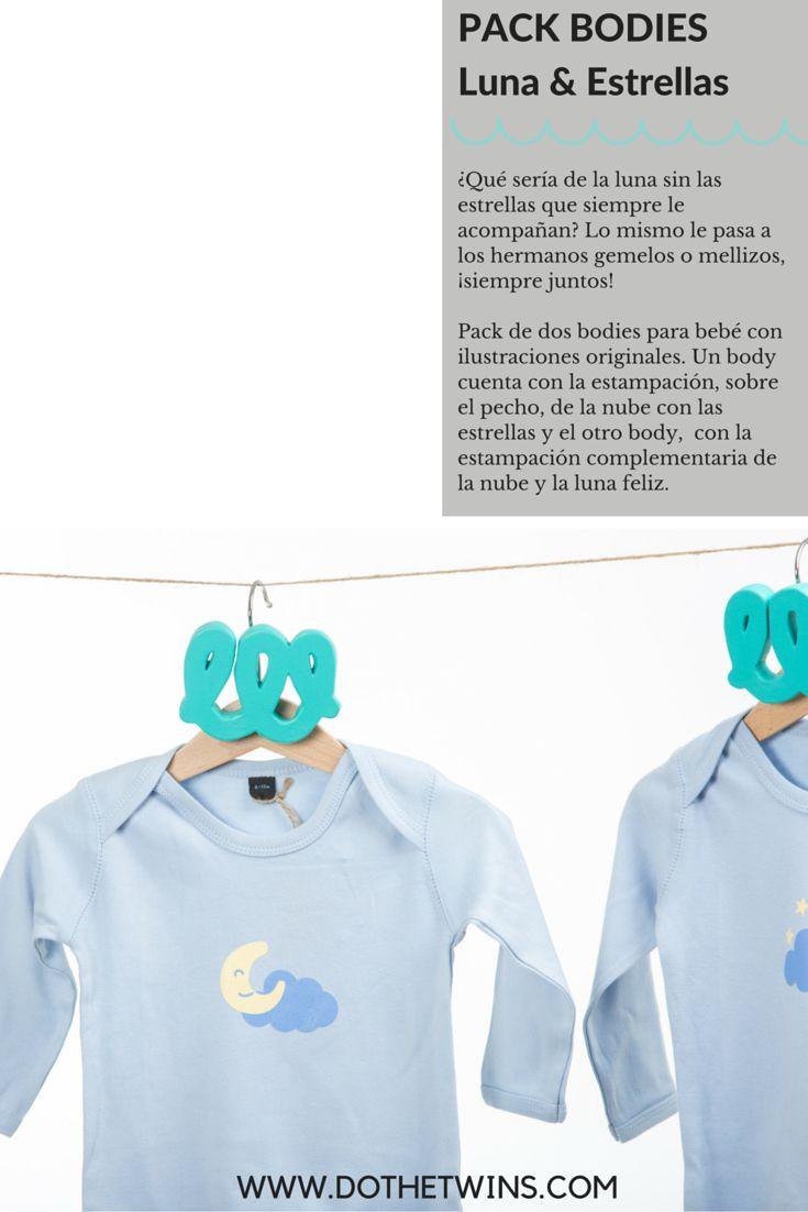 Pack de dos bodies para bebé con ilustraciones originales de Dothetwins. Un body cuenta con la estampación, sobre el pecho, de la nube con las estrellas y el otro body,  con la estampación complementaria de la nube y la luna feliz.