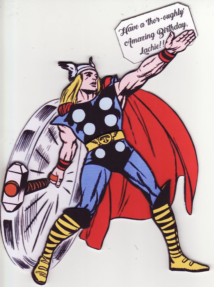 3D Thor 'Have a 'thor-oughly' amazing birthday' Card (by Tassie Scrapangel)