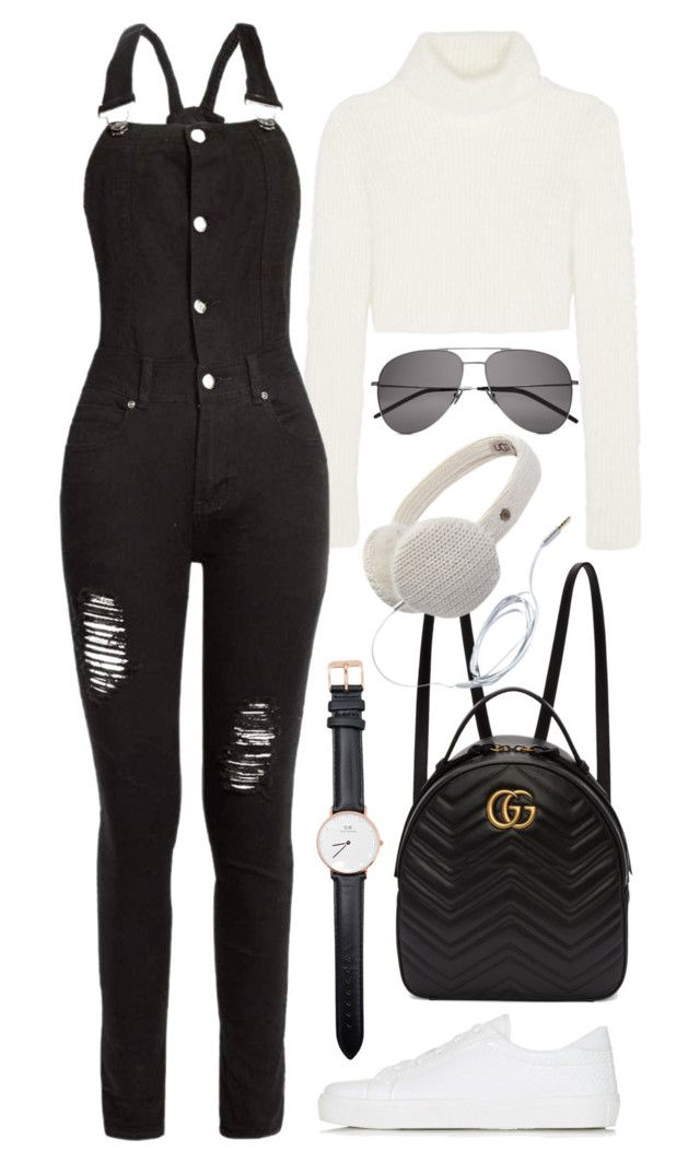 """Untitled #466"" by inspirene ❤ liked on Polyvore featuring Roberto Cavalli, Boohoo, Topshop, Yves Saint Laurent, Gucci, UGG Australia and Daniel Wellington"