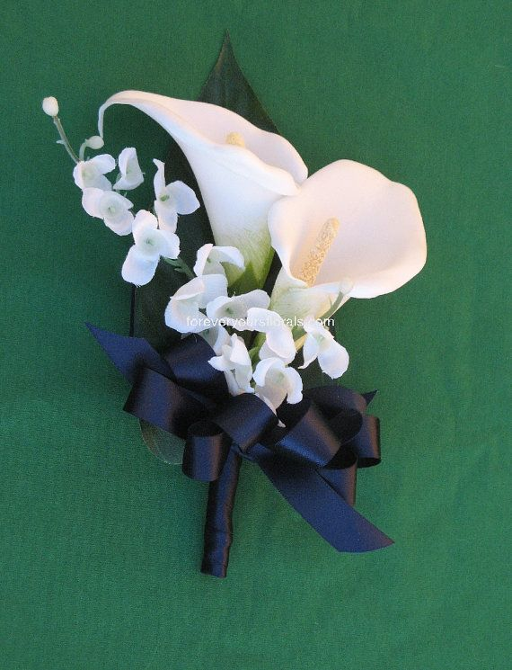 white calla lily mother's corsage - w/green or gold ribbon and peacock feather