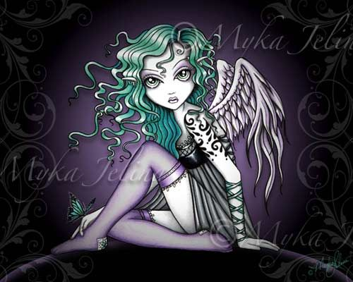 goth fairies | Tattoo Angel Print Cute Violet Gothic Fairy Art Malory | eBay