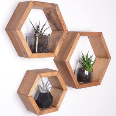 3 Hexagon Shelves, Honeycomb shelves, Geodesic Shelves, Hexagon ...