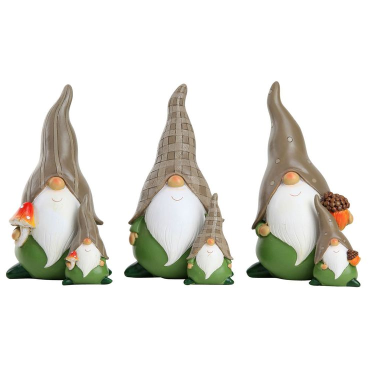Garden Gnome Ornaments Green & Brown funny garden gnome set - two sizes #Gardens2you