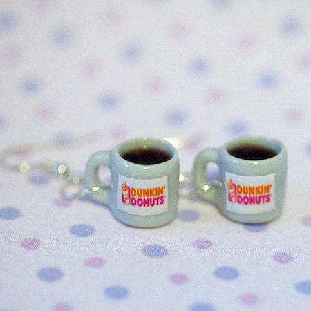 Miniature Dukin Donut Coffee Earring with Silver by qminishop