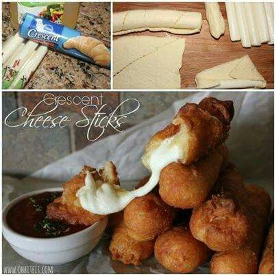 Crescent cheese stix _  1 pk crescents (8), pk of 8 moz string cheese. Unroll crescents, roll in string cheese, fry in oil until golden brown and serve warm