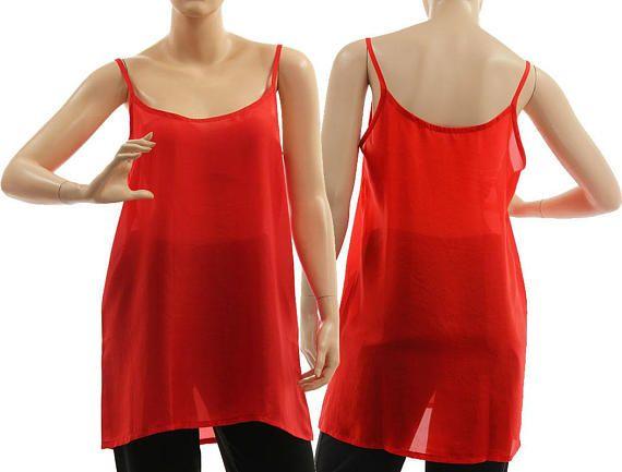 Silk slip dress in red silk strappy tank top red silk