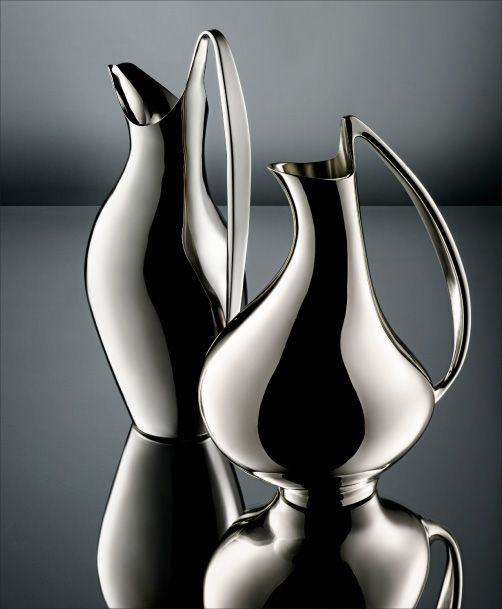 Georg Jensen Denmark Sterling Pair of Modernists Pitchers.