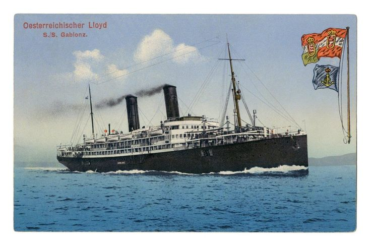 "Steamboat ""Gablonz"" (The city Jablonec) – the largest ship of the Austro-Hungarian Empire. After the First World War was renamed Tevere/Tiber (owner postcards Petr Louda)"