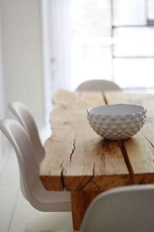 I'm in love with this rough-hewn lumber, obviously hand milled. My favorite part is the naturally wavy edge it gives the table, it's gorgeous.