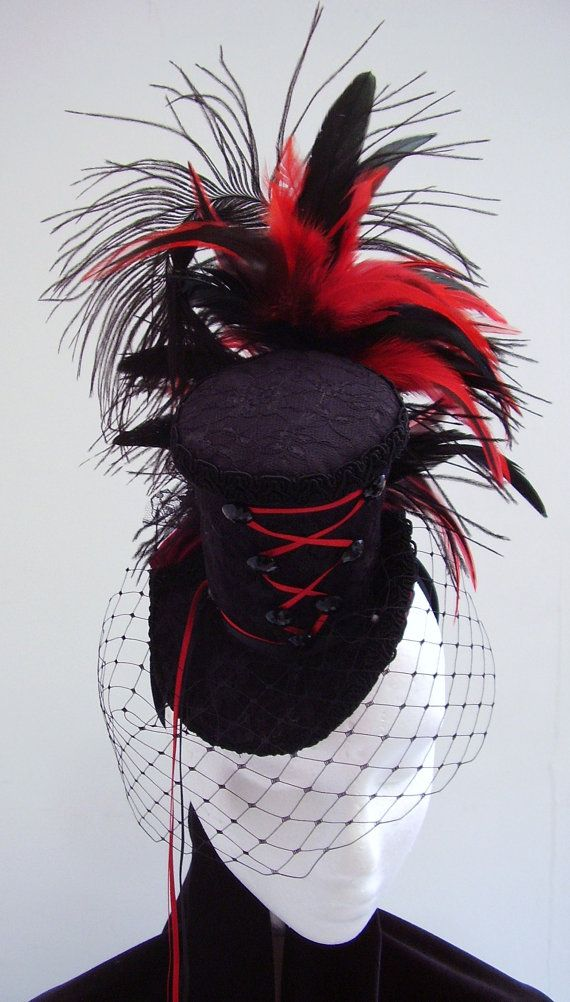 Black hat burlesque Victorian fascinator Black Fire by Blackpin