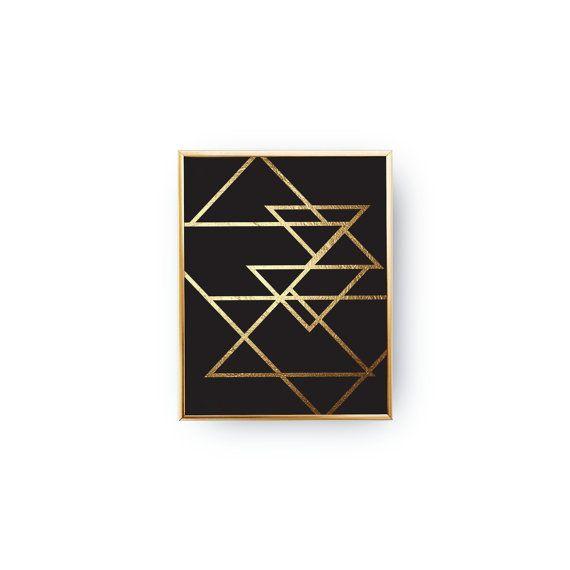 Résumé des Triangles or Print géométrique tirage par LovelyPosters