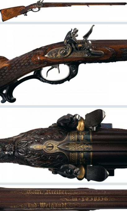 """Magnificent 18th century German double barrel flintlock rifle with carved stock and gold inlaid barrels. Marked """"Gottfr Kreisler and Weigandt in Leipzig"""". - Rgrips.com"""