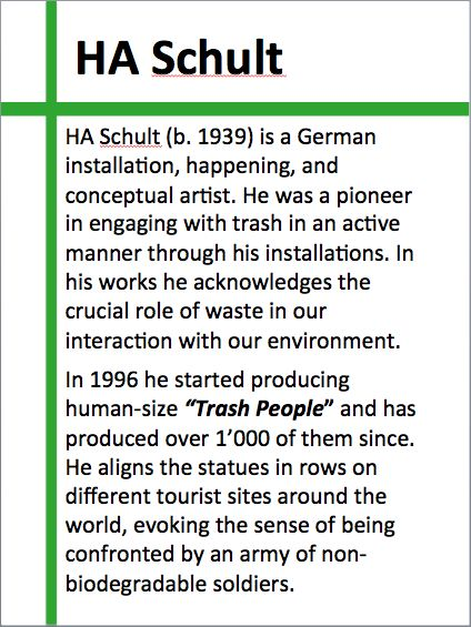 """About HA Schult and his installation """"Trash People"""" (1996 onwards)."""