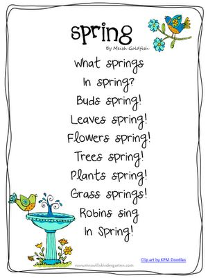 Spring Season Poems Kindergarten poems on pinterest poem , fall poems ...