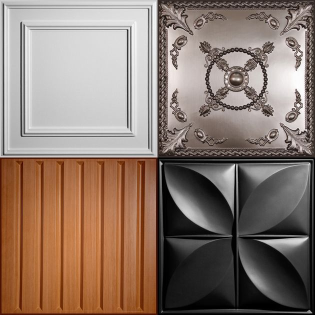 Decorative vinyl ceiling tiles and drop ceiling panels that are affordable, easy to install/maintain, mold/mildew resistant, and dust (and rust!) free.