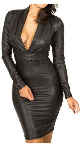 'TASHA' Long Sleeve Deep-V Bodycon Dress