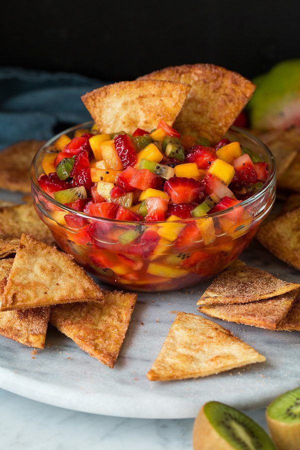 Easy fresh fruit salsa with homemade crispy cinnamon sugar tortilla chips! Such a refreshing treat that's sure to be a crowd pleaser!