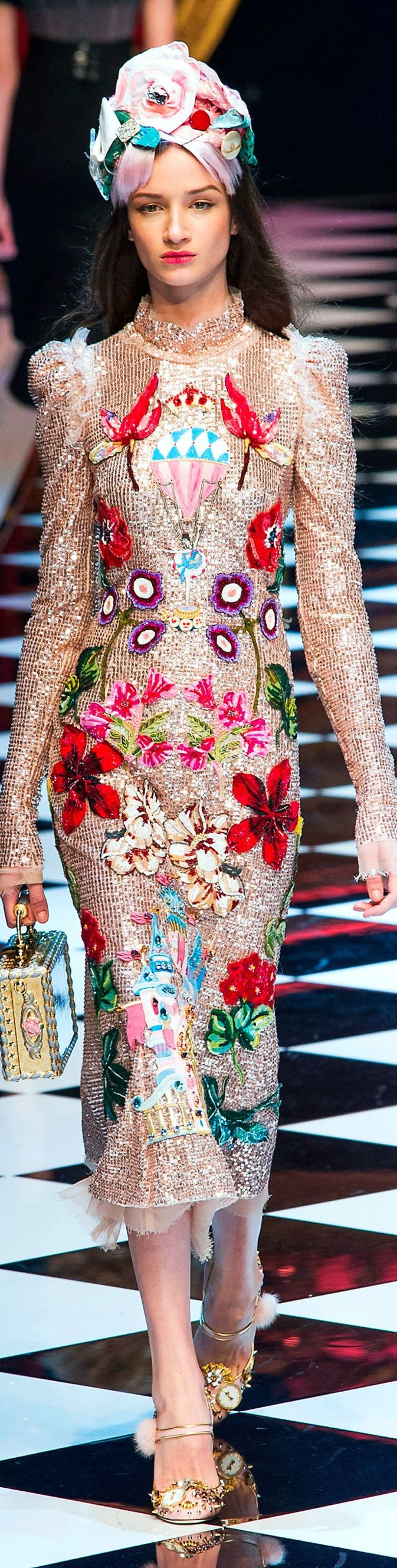 Dolce and Gabbana fall 2016 RTW Date: June 17, 2016 Notation:  This symmetrical dress is trending for the spring with it's crazy about DIY appearance.  I love the whole DIY appearance.