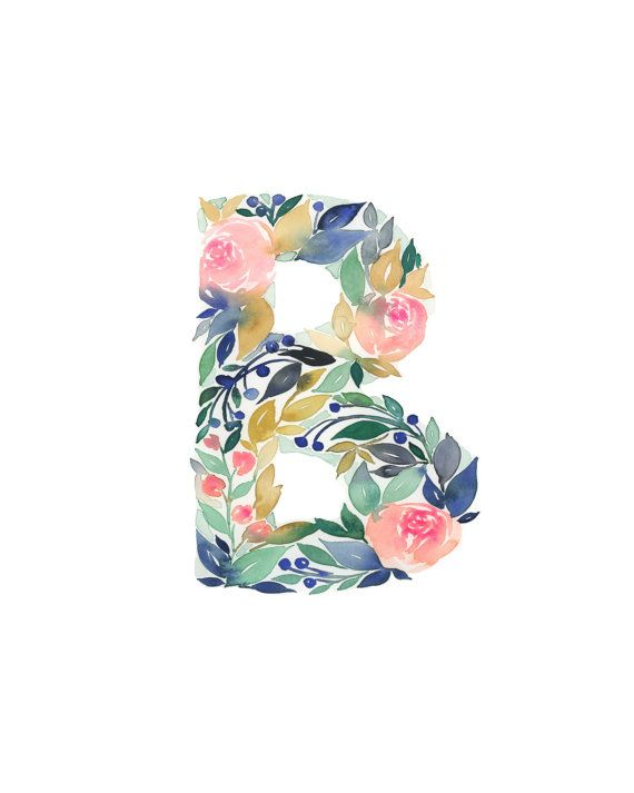 watercolor alphabet print letter b initial b by tulippoplarco in 2019