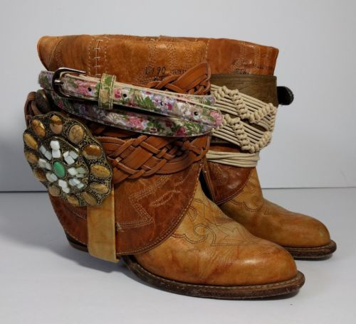 Boho Gypsy Brown Leather Cowboy Boots Size 6 Vintage OOAK Handmade Hippie