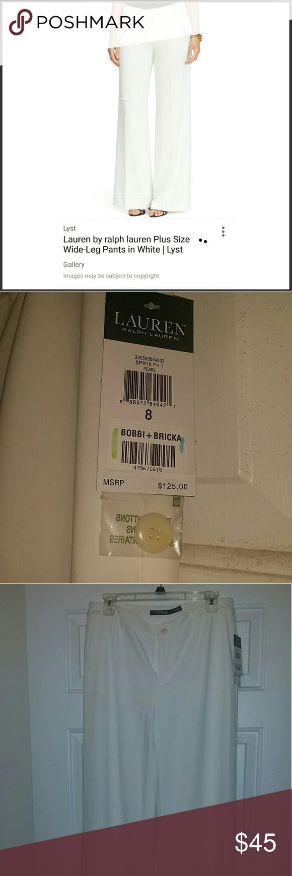 Nwt ralph lauren wide leg cream pants Cream pants. New with tags. Size 8. Wide leg. Very nice. Described as pearl -off white. Full length Ralph Lauren Pants Wide Leg