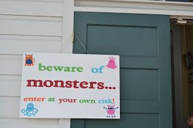 A couple weeks ago we had my youngest son's 2 nd  birthday party. The theme was monsters. We were able to rent the same cute little school h...