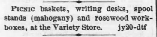 Picnic baskets at Variety Store. The Daily Kansas Tribune of Lawrence, Kansas on July 20, 1869 | A Victorian Picnic Basket…worth $7.50? (And a peek inside Courting Miss Cartwright) | KristinHolt.com