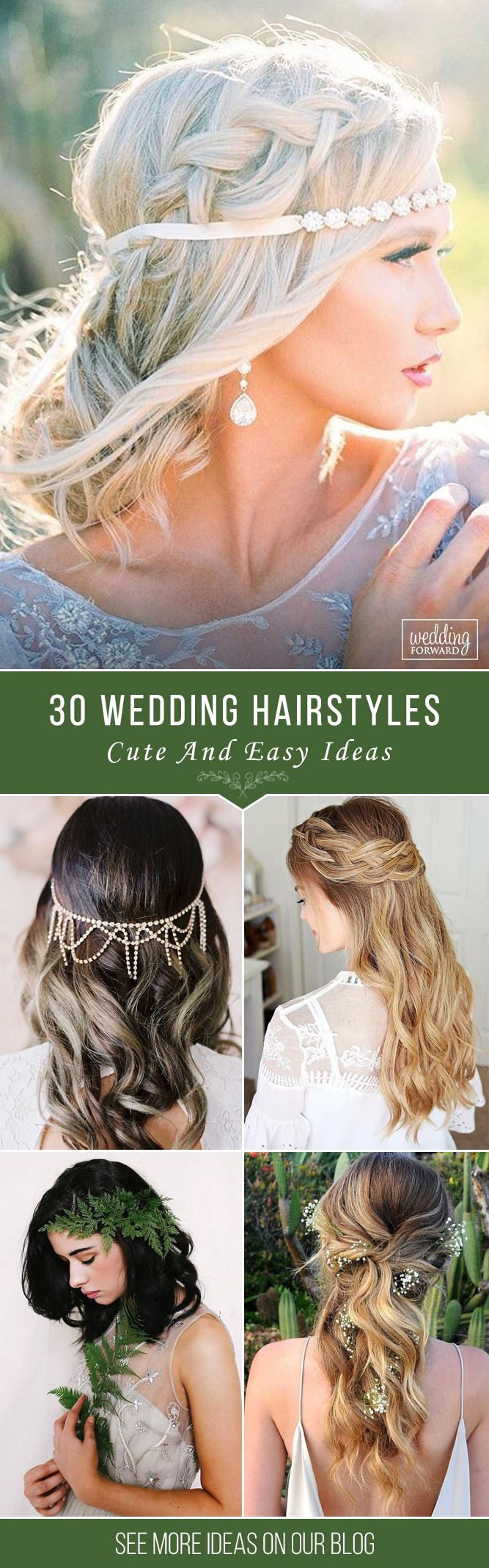 30 Cute And Easy Wedding Hairstyles  ❤ We propose our collection of easy wedding hairstyles. Even your bridesmaid could create such a beautiful hairstyles, you just need some time to prepare. See more: http://www.weddingforward.com/easy-wedding-hairstyles/