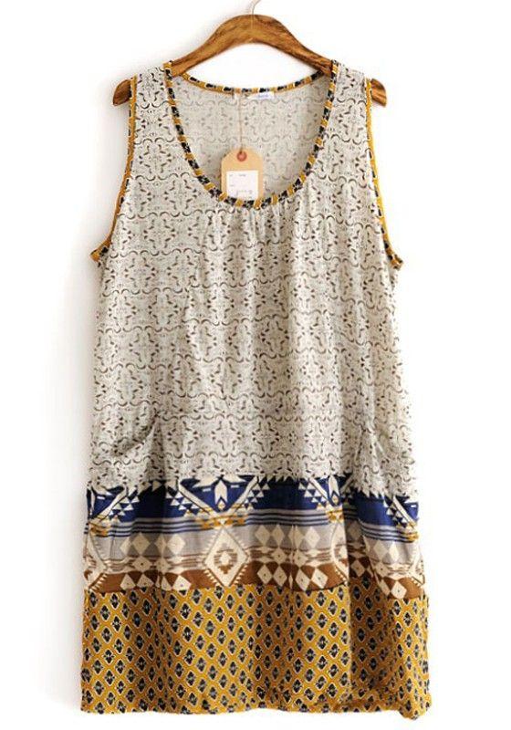 Grey Geometric Pleated Sleeveless Thin Cotton Dress