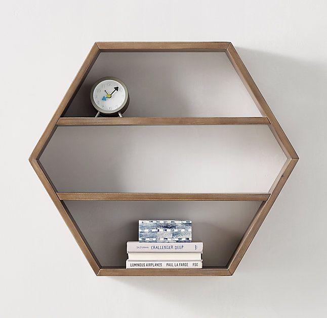 Hexagon Wood Curio Shelf - Natural