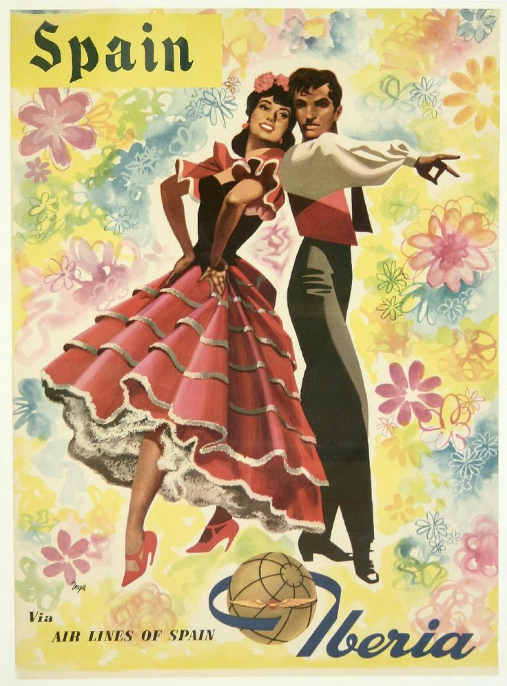 Spain via Iberia :: España #vintage #travel #poster #Spain