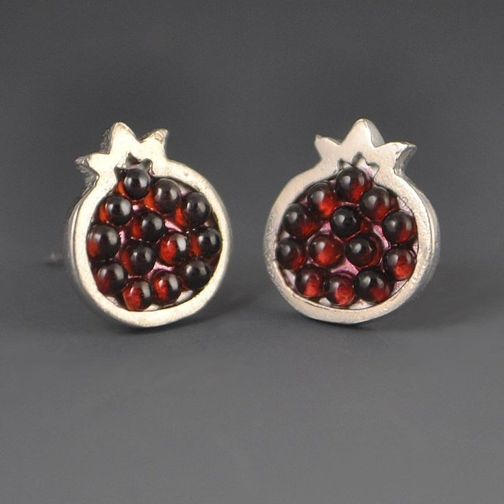 Pomegranate Garnet Mosaic Earrings: Handmade
