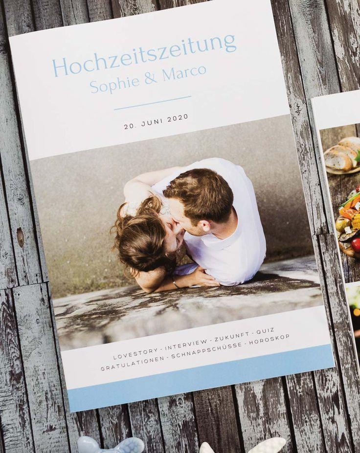 Hochzeitszeitung in Blau – Hochzeitsgeschenk