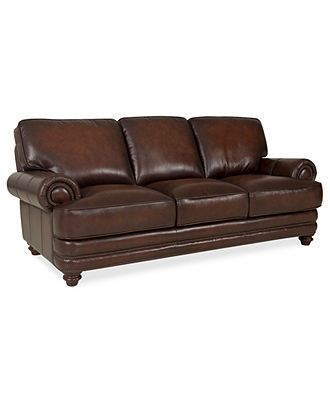 Brett leather sofa 91 w x 40 d x 32 h furniture macy for H furniture facebook