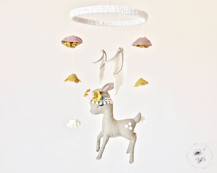 Deer Baby Mobile - Baby Girl Mobile - Baby Mobile - Blush Pink Fawn Baby Mobile - Gold Nursery Decor - Farmhouse Nursery Decor by PaigeAndPoppy on Etsy https://www.etsy.com/listing/536216457/deer-baby-mobile-baby-girl-mobile-baby