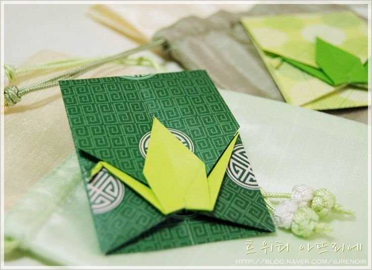 DIY origami crane envelope from one piece of paper. Step-by-step photo tutorial.