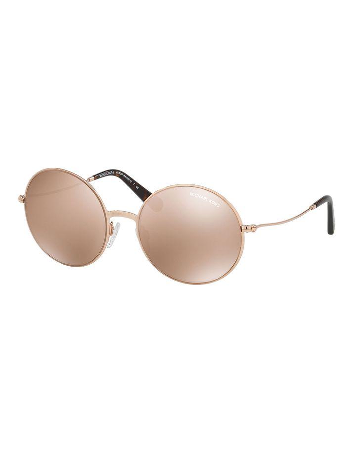 Mirrored Round Metal Sunglasses, Rose Gold