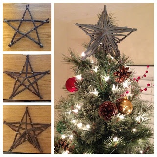 Make your own rustic star tree topper! I just need to find some sticks somewhere in Florida....ugh...