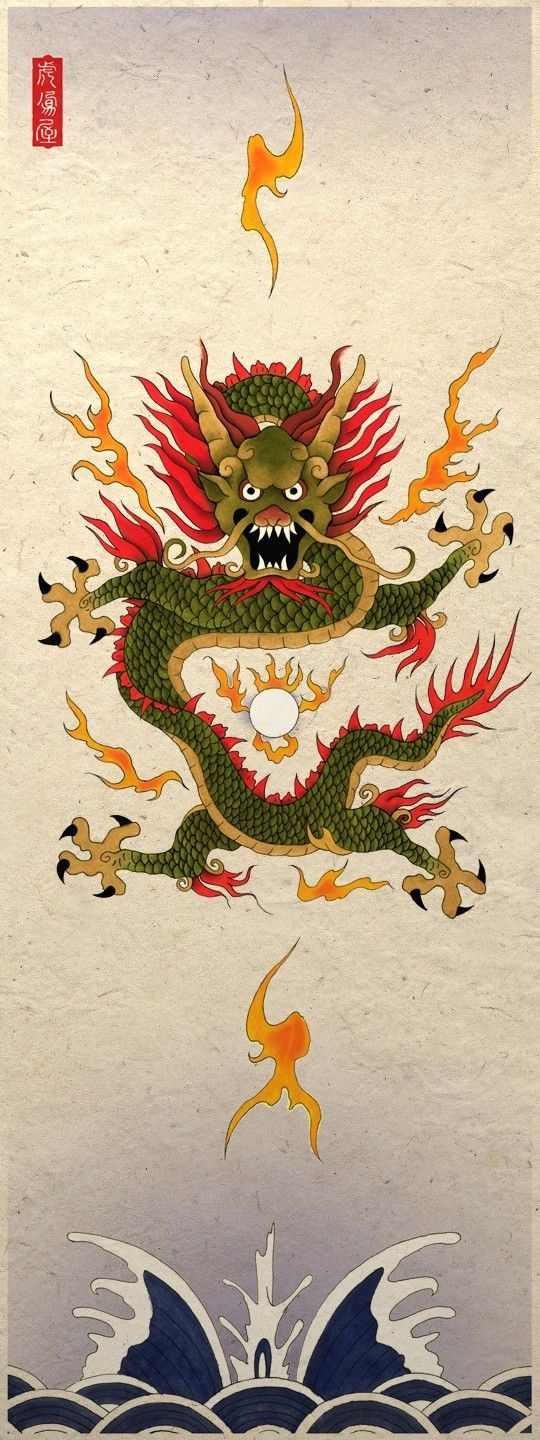 Asian Art Poster Print Wall Decor Water Dragon