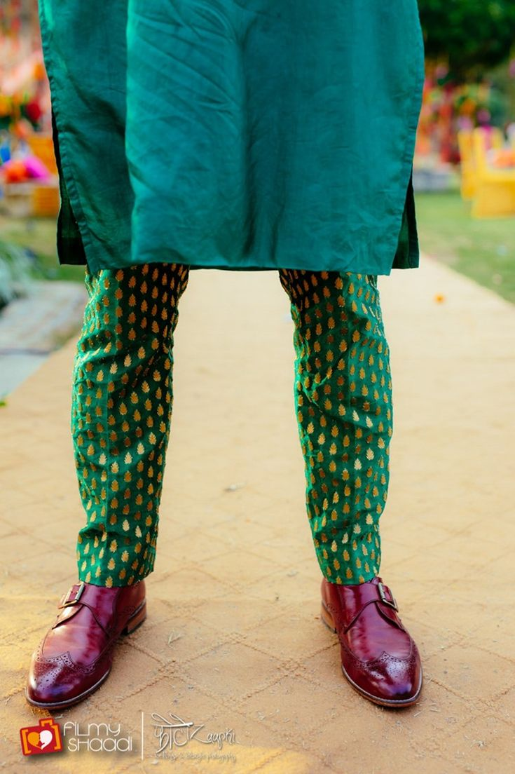Groom style - purple black italian loafers - green pants, teal kurta - indian men's wedding fashion - Vintage Boho Hindu Wedding Dehradun | Photoz Aapki