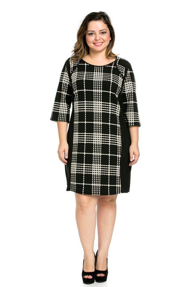 Plus Size Black Plaid Shift Dress (in sizes 1X or 2X) #ECPlusSize #Shift #Casual