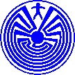 This design is known as the House of I'itoi or Siuku Ki, used in the baskets of the Tohono O'otam and Pima tribes of Southern Arizona. I'itoi brought people to this earth from the underworld. He lives in the maze so people can't find him. But the maze also represents the ordinary person travelling through life. So the little man is either I'itoi, or us.