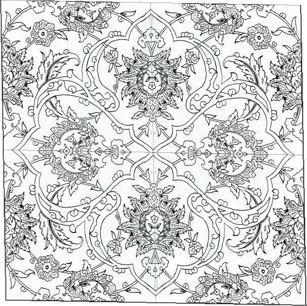 Tile Coloring For Kids Ornaments Arabesques Islam Iznik