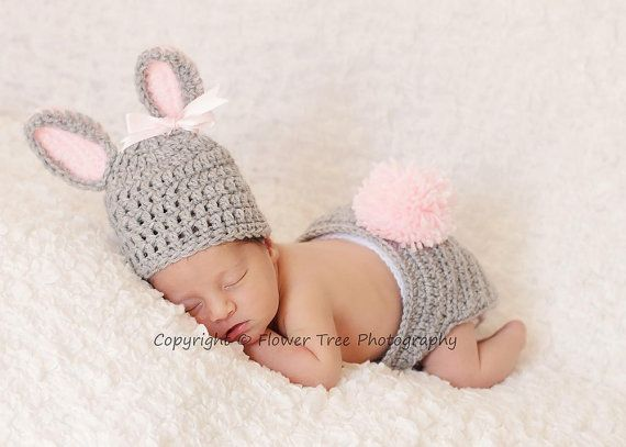 Newborn Bunny Hat Diaper Cover Set Easter by VioletsPlayground, $36.00: Diaper Cover, Babies, Idea, Infant, Baby Girl, Arrived Baby Photography, Has, Newborn
