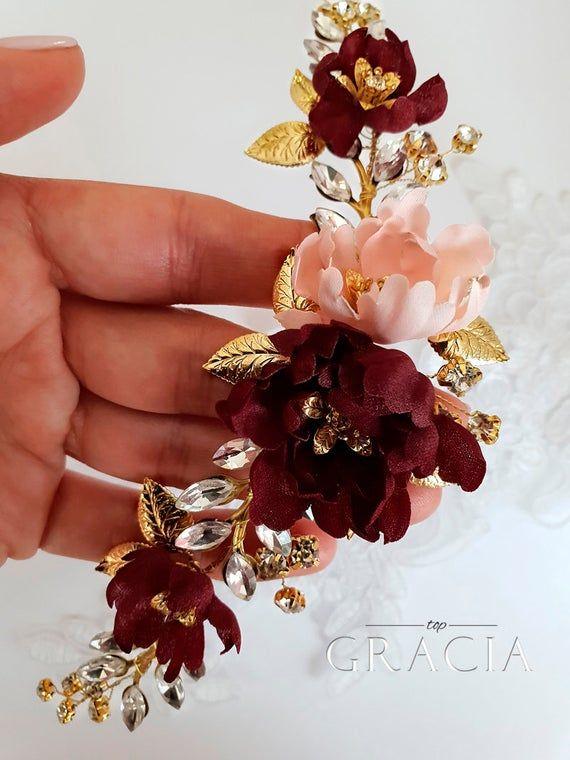 Burgundy blush hair clip Marsala pink hair clip Flower hair accessories Burgundy wedding hair clip Blush Bridal hair clip Flower for hair