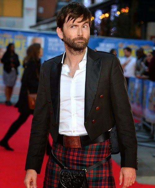David Tennant in a Kilt looking shifty — or he's just had some fresh air tickle his.... :D